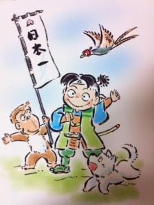Momotaro bersama 3 hewan